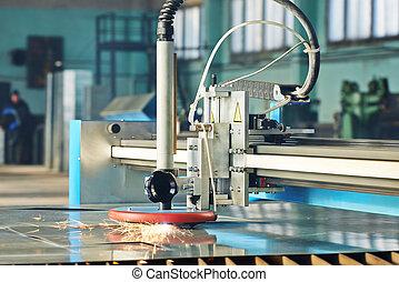 laser, étincelles, métal, découpage, feuille, plasma, ou