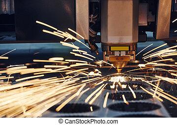 laser, étincelles, metalworking, découpage, plasma, ou