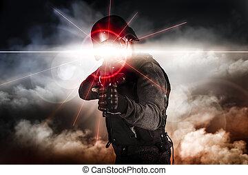 laser, żołnierz, napaść, widok, karabin, cel