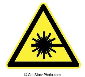 laser, advertencia, radiación, amarillo