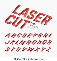 laser, alfabeto, cutted