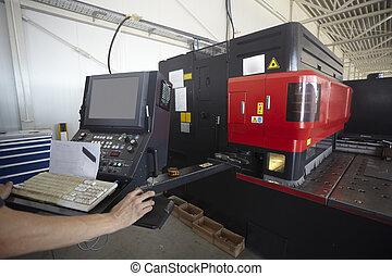 laser, aluminio, industria, fábrica, corte, fabricación