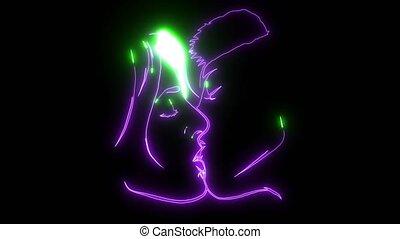 laser, animatie, kussende , paar, gekleurde