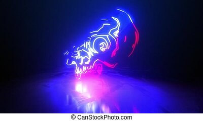 laser, animation, art, vidéo, crâne, anatomique