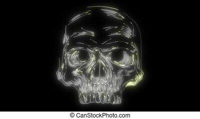 laser, animation, vidéo, crâne humain