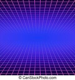 laser, arcata, spazio, manifesto, neon, onda, fondo., gioco...