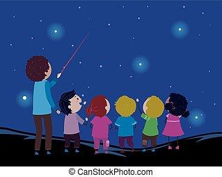 laser, bambini, stickman, stella, punto, insegnante