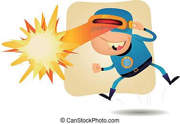 Illustration of a funny cartoon superhero character using his super power, laser blast from the eyes