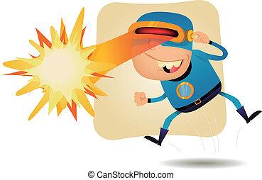 Laser Beam Head - Comic Superhero - Illustration of a funny...