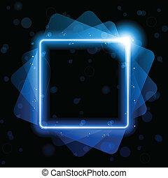 laser, carrée, lignes, fond, néon, bleu