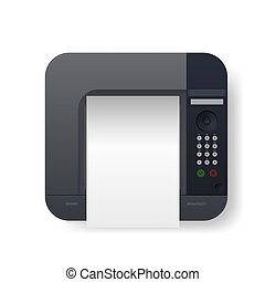 laser, cima, realista, negro, a4, printer., vista