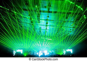 laser, concert, tonen