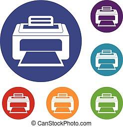 laser, conjunto, moderno, impresora, iconos