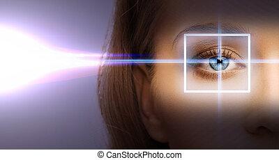 laser, correctie, vrouw oog, frame