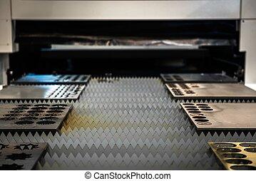 laser, cortador, corte, metal, placas