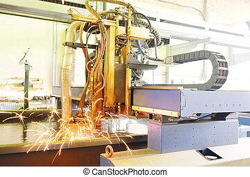 laser, corte, metal, máquina