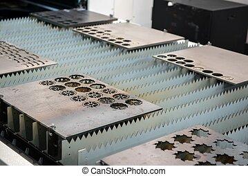 laser, coupeur, découpage, métal, plaques