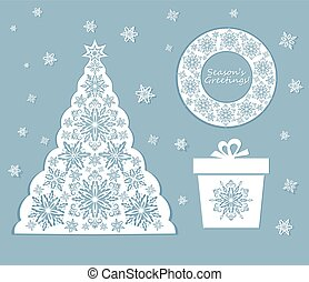 Laser cut out xmas set with snowflakes