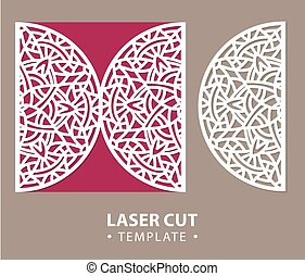 Laser cut vector card temlate with mandala ornament. Cutout...