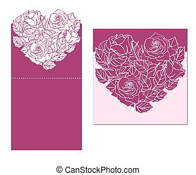 Laser cut vector card temlate with rose heart ornament....