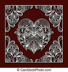 laser cutting square frame with floral design around of heart on dark red color background