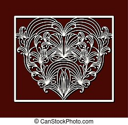 laser cutting square frame with ornamental heart on dark red color background