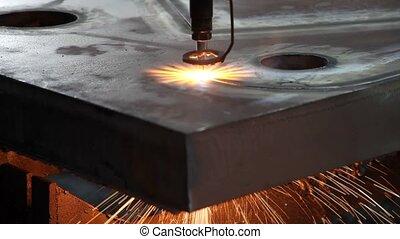 laser, découpage, étincelles, métal, feuille