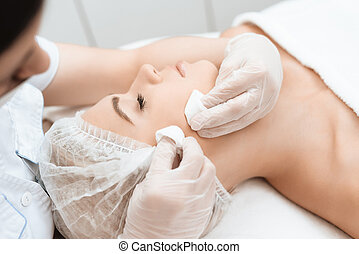 laser, docteur, came, massage., nettoyage, cheveux, removal., facial, girl, marques, procédure