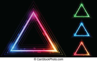 laser, driehoek, grens, set, neon
