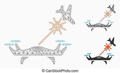 Laser Drone Strikes Airplane Vector Mesh Carcass Model and...