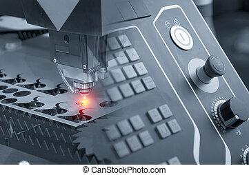 laser, effect., luz, abstratos, metal, cena, máquina, enquanto, corte, folha, sparking, cortador, controlador, painel