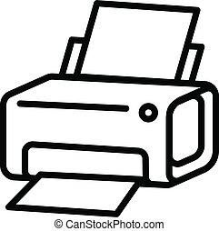 laser, estilo, esboço, impressora, ícone