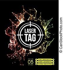 laser, etichetta, bersaglio