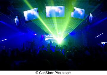 laser, exposición, y, música