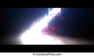 laser, feuerhaken, skulls., animation, karte