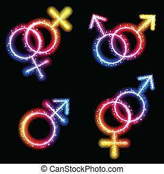 laser, genre, néon, symboles, mâle, femme, transgender