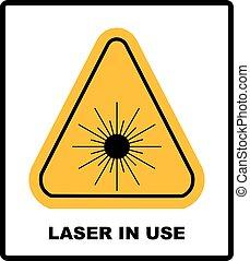 laser, gevaar, tekst, symbool, straling, vrijstaand, gele...