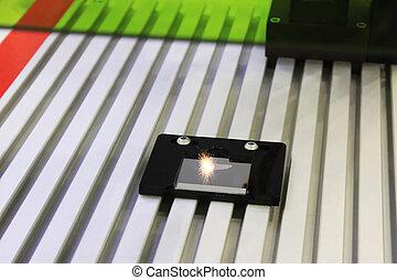 laser, grabado, en, acero