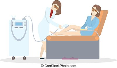 Laser hair removal. Isolated illustration on white ...