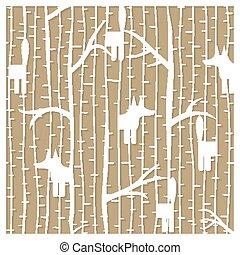 laser, hiver, renard, -, illustration, découpage, vecteur, forêt, modèle
