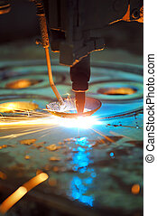 laser, holle weg, metaal, blad