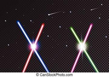 laser, illustration., coloridos, stars., luz, espadas, isolado, realístico, luminoso, vetorial, experiência preta, beams., cruzado