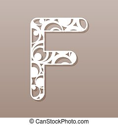 laser, illustration., f, vector, carta, inglés, alphabet.,...
