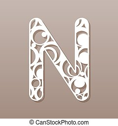 laser, illustration., n, vector, carta, inglés, alphabet.,...