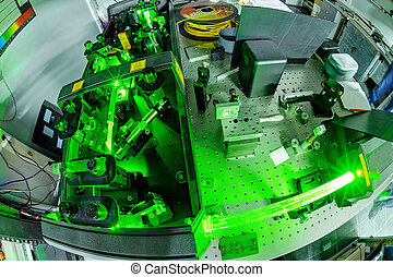 Laser in a quantum optics lab.