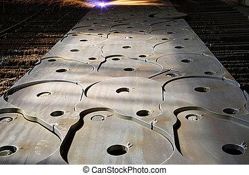 laser industrial, con, chispas