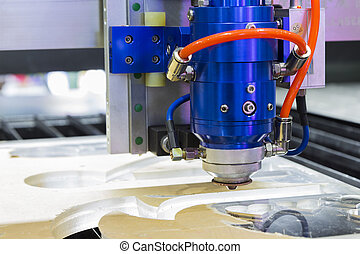 laser industrial, corte, cabeza