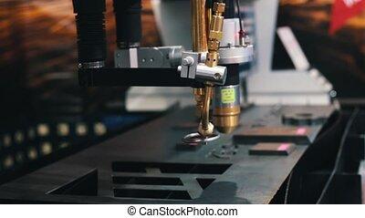 laser industriel, métal, production., machine, cnc, coupures