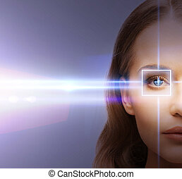 laser, korrektur, frau auge, rahmen