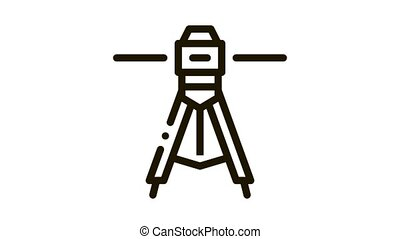 laser level tool Icon Animation. black laser level tool animated icon on white background